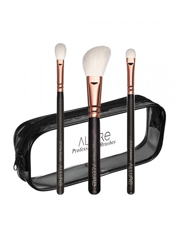 Allure Essential Trio Professional Makeup Brush Set With Travel Pouch