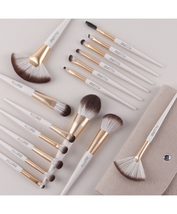 Allure Beige Pro Makeup Brush Set of 16 with Suede Pouch